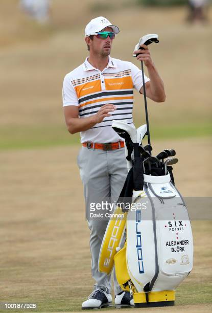 Alexander Bjork of Sweden waits to play his second shot on the 14th hole during the first round of the 147th Open Championship at Carnoustie Golf...