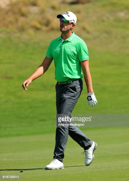 Alexander Bjork of Sweden walking down the first fairway during the final round of the NBO Oman Open at Al Mouj Golf on February 18 2018 in Muscat...