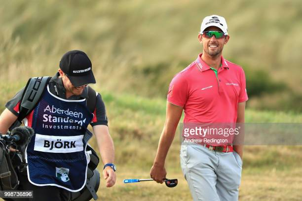 Alexander Bjork of Sweden walks on hole seventeen during day three of the Aberdeen Standard Investments Scottish Open at Gullane Golf Course on July...