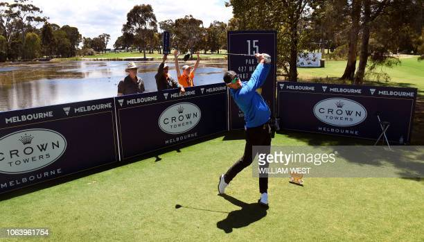 Alexander Bjork of Sweden watches his tee shot during a practice round at the World Cup of Golf in Melbourne on November 21 2018 / IMAGE RESTRICTED...