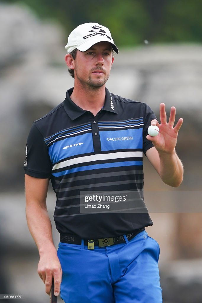 Alexander Bjork of Sweden waves his ball to the fans during the final round of the 2018 Volvo China Open at Topwin Golf and Country Club on April 29, 2018 in Beijing, China.