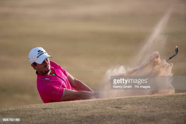 Alexander Bjork plays from a fairway bunker on the 18th during day three of the Aberdeen Standard Investment Scottish Open at Gullane Golf Club East...
