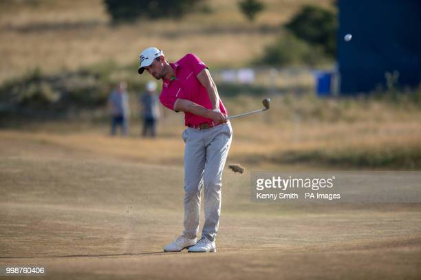 Alexander Bjork plays his approach at the 18th during day three of the Aberdeen Standard Investment Scottish Open at Gullane Golf Club East Lothian