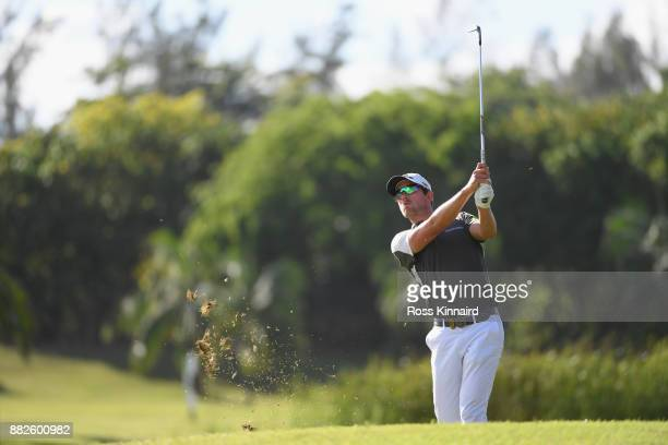 Alexander Bjork plays his second shot on the 10th during day one of the AfrAsia Bank Mauritius Open at Heritage Golf Club on November 30 2017 in Bel...