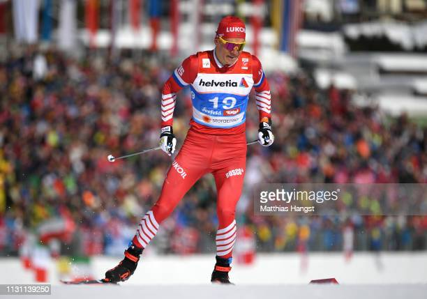 Alexander Bolshunov of of Russia during the Men's Cross Country Sprint Qualification at the Stora Enso FIS Nordic World Ski Championships on February...