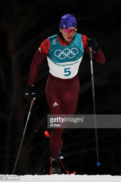 Alexander Bolshunov of Olympic Athlete from Russia competes during the CrossCountry Men's Sprint Classic Qualification on day four of the PyeongChang...