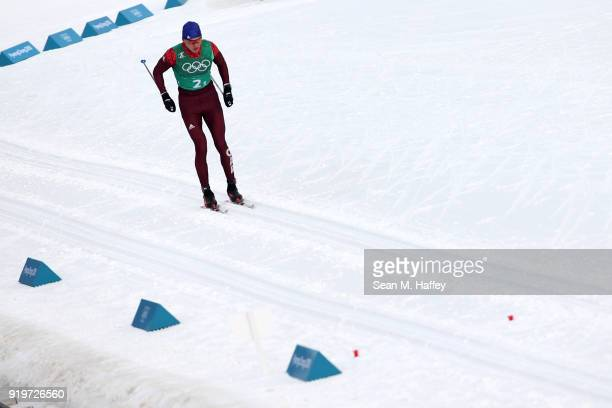 Alexander Bolshunov of Olympic Athlete from Russia competes during CrossCountry Skiing men's 4x10km relay on day nine of the PyeongChang 2018 Winter...