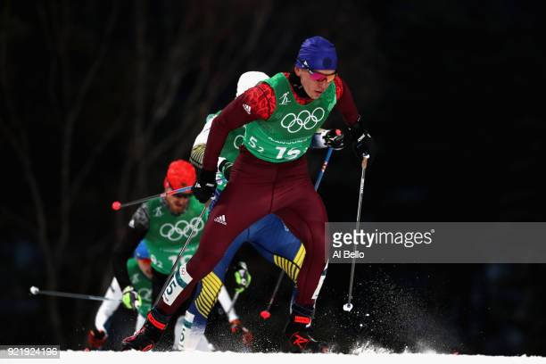 Alexander Bolshunov of Olympic Athlete from Russia competes during the Cross Country Men's Team Sprint Free semi final on day 12 of the PyeongChang...