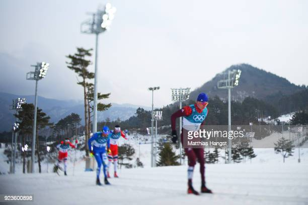 Alexander Bolshunov of Olympic Athlete from Russia competes during the Men's 50km Mass Start Classic on day 15 of the PyeongChang 2018 Winter Olympic...