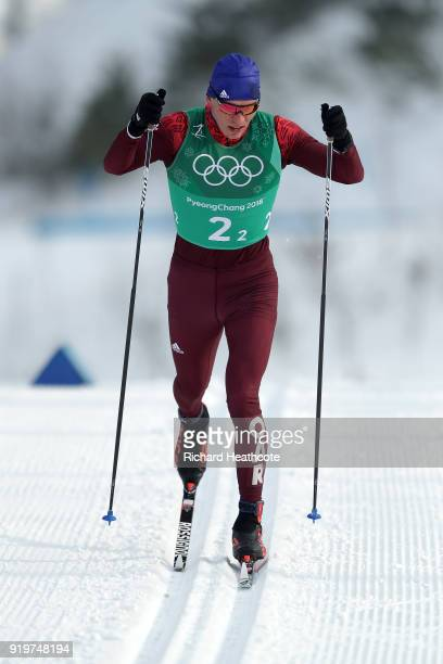 Alexander Bolshunov of Olympic Athlete from Russia competes in the second leg during CrossCountry Skiing men's 4x10km relay on day nine of the...