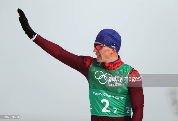 Alexander Bolshunov of Olympic Athlete from Russia waves after his relay during CrossCountry Skiing men's 4x10km relay on day nine of the PyeongChang...