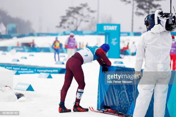 Alexander Bolshunov of Olympic Athletes of Russia exhausted after the Mens 50k Classic competition at Alpensia CrossCountry Centre on February 24...