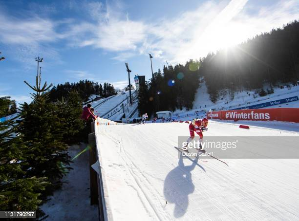 Alexander Bolshunov of Russia competes in the Cross Country Men's Team Sprint semifinal race during the FIS Nordic World Ski Championships on...