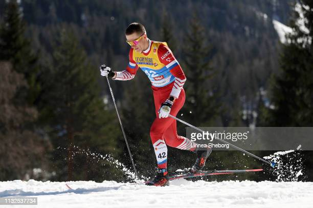 Alexander Bolshunov of Russia competes in the CrossCountry Men's 15k race during the FIS Nordic World Ski Championships at Langlauf Arena Seefeld on...