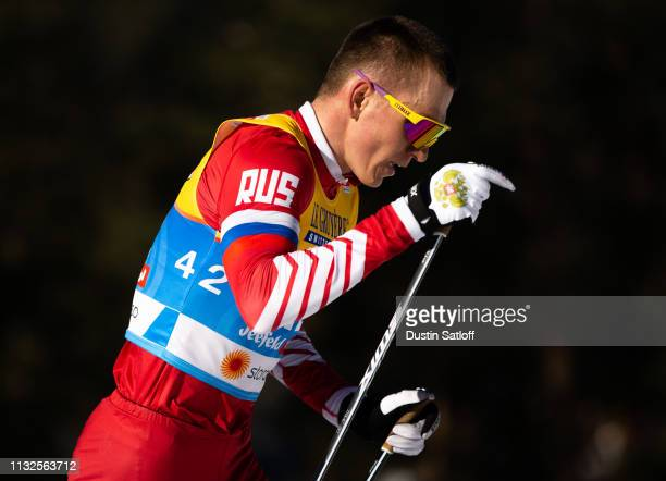 Alexander Bolshunov of Russia competes in the Men's 15km Cross Country classic individual start during the FIS Nordic World Ski Championships on...