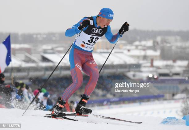 Alexander Bolshunov of Russia competes in the Men's 16KM Cross Country Sprint qualification round during the FIS Nordic World Ski Championships on...