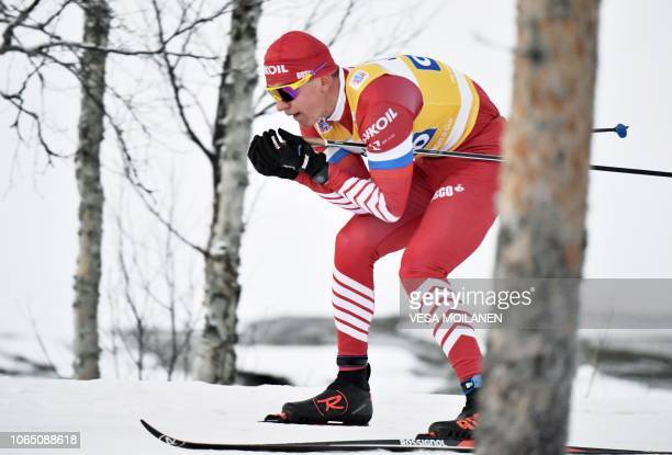Alexander Bolshunov of Russia competes in the men's Cross Country Skiing 15km Classic event at the FIS Nordic Skiing World Cup in Ruka Finland on...