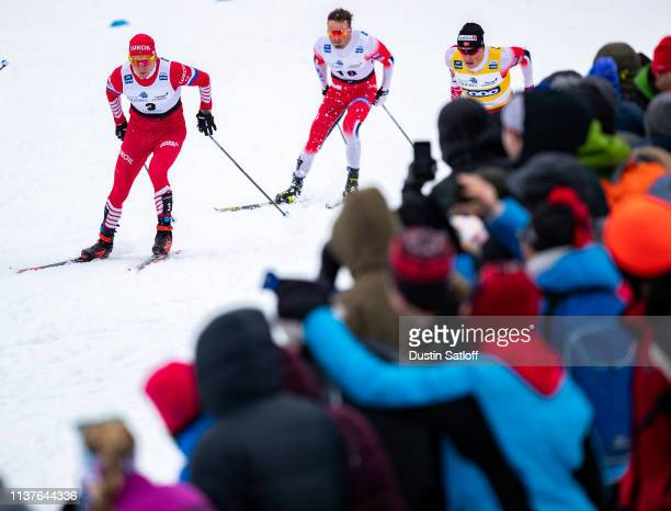 Alexander Bolshunov of Russia competes in the sprint quarterfinal heat during the FIS Cross Country Ski World Cup Final on March 22 2019 in Quebec...