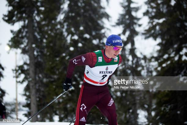 Alexander Bolshunov of Russia during the mens cross country 15K pursuit competition at FIS World Cup Ruka Nordic season opening at Ruka Stadium on...