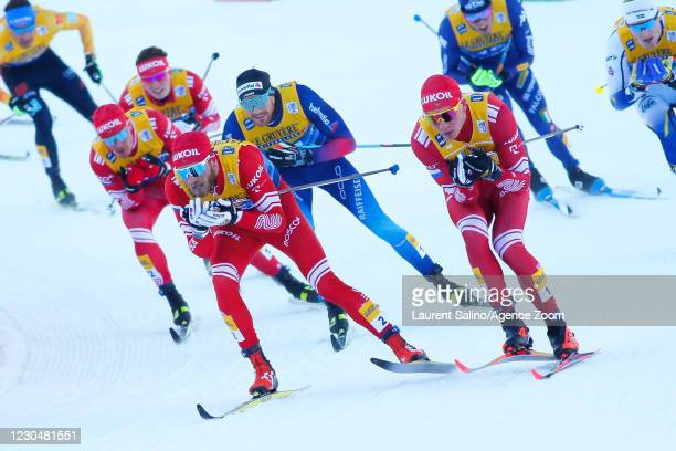 Alexander Bolshunov of Russia takes 1st place, Artem Maltsev of Russia during the COOP FIS Cross-Country Stage World Cup Men's 15 km Classic Mass...