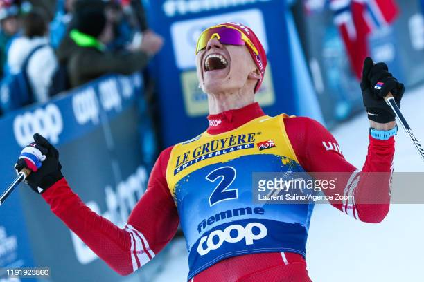 Alexander Bolshunov of Russia takes 1st place during the FIS Nordic World Cup Men's and Women's Cross Country, 2020 in Val Di Fiemme, Italy.