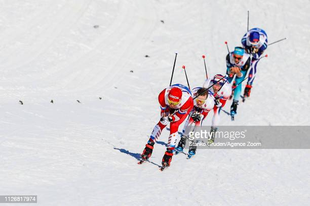 Alexander Bolshunov of Russia takes 2nd place during the FIS Nordic World Ski Championships Men's and Women's Cross Country Skiathlon on February 23...