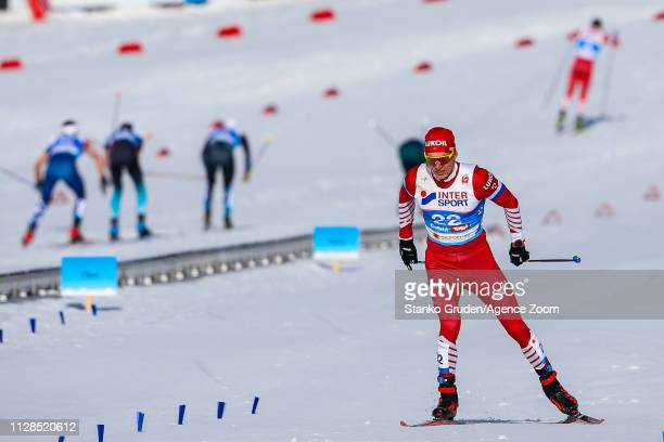 Alexander Bolshunov of Russia takes 2nd place during the FIS Nordic World Ski Championships Men's Cross Country Mass Start on March 3 2019 in Seefeld...