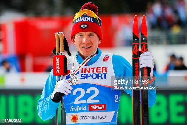 Alexander Bolshunov of Russia takes 2nd place during the FIS Nordic World Ski Championships Men's Cross Country Mass Start on March 3, 2019 in...