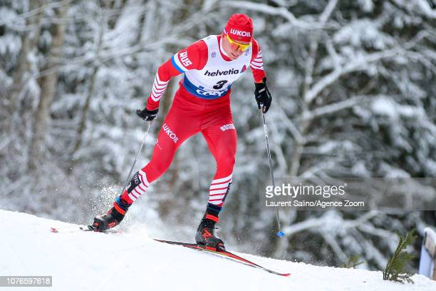 Alexander Bolshunov of Russia takes 3rd place during the FIS Nordic World Cup Men's and Women's Cross Country Pursuit on January 3 2019 in Oberstdorf...