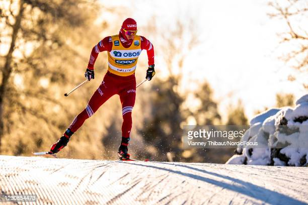 Alexander Bolshunov of Russia takes first place during the Men's 15km free at the Coop FIS Cross-Country World Cup Falun at on January 29, 2021 in...