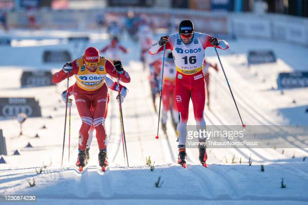 Alexander Bolshunov of Russia takes first place during the Men's 15km C at the Coop FIS Cross-Country World Cup Falun at on January 30, 2021 in...