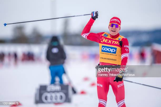 Alexander Bolshunov of Russia takes first place during the Men's 38 km F Mst at the FIS Cross-Country World Cup Storlien-Meraker on February 20, 2020...