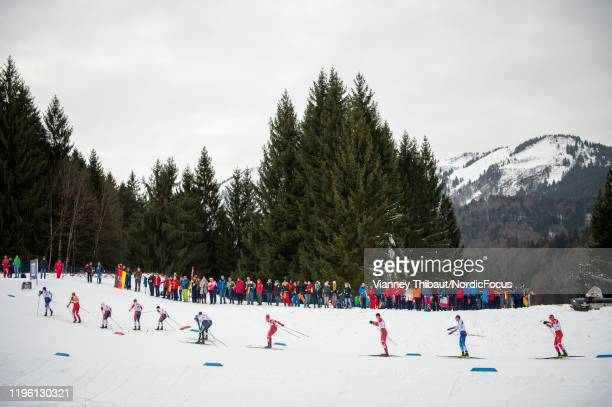Alexander Bolshunov of Russia takes first place during the men's/women's skiathlon at the FIS nordic world cup Oberstdorf on January 25, 2020 in...