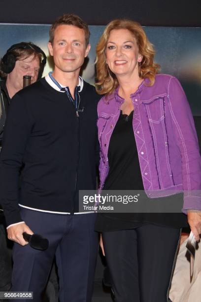 Alexander Bommes and Bettina Tietjen attend the photo call for the tv show 'Tietjen und Bommes' on May 9 2018 in Hamburg Germany