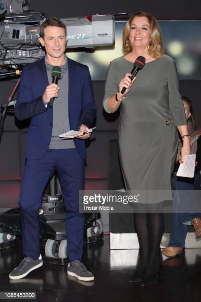 Alexander Bommes and Bettina Tietjen durig the TV show 'Tietjen und Bommes' on January 18 2019 in Hanover Germany