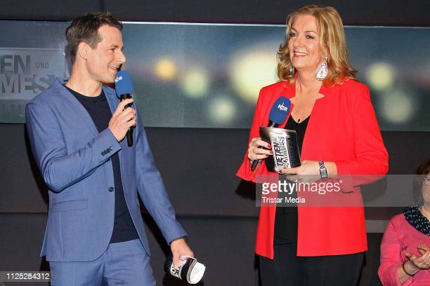 Alexander Bommes and Bettina Tietjen during the NDR 'Tietjen und Bommes' TV show on February 15 2019 in Hanover Germany