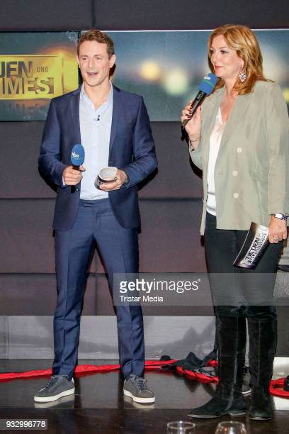 Alexander Bommes and Bettina Tietjen during the photo call to the 'Tietjen und Bommes' TV show on March 16 2018 in Hanover Germany