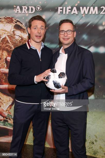 Alexander Bommes and Matthias Opdenhoevel during the TV programs ARD and ZDF present their team for the 2018 FIFA World Championship in Russia on...