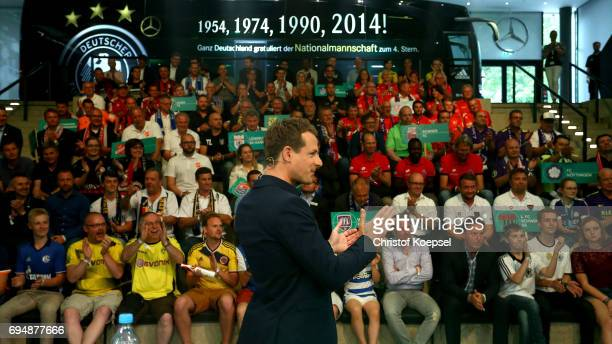 Alexander Bommes ARD moderator speaks to the audience during the DFB Cup Draw at Deutsches Fussballmuseum on June 11 2017 in Dortmund Germany