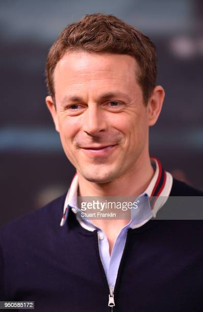 Alexander Bommes poses for a picture during the ARD and ZDF FIFA World Cup presenter team presentation on April 23 2018 in Hamburg Germany