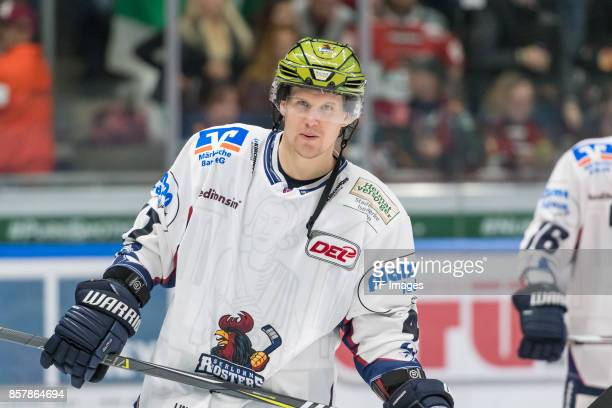 Alexander Bonsaksen of Iserlohn looks on during the DEL match between Augsburger Panther and Iserlohn Roosters on September 29 2017 in Augsburg...