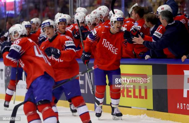 Alexander Bonsaksen of Norway celebrate with his team mates during the 2018 IIHF Ice Hockey World Championship group stage game between Norway and...