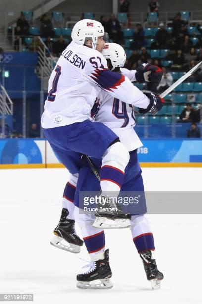 Alexander Bonsaksen of Norway celebrates with his teammate Mats Rosseli Olsen after scoring the game winning goal against Gasper Kroselj of Slovenia...