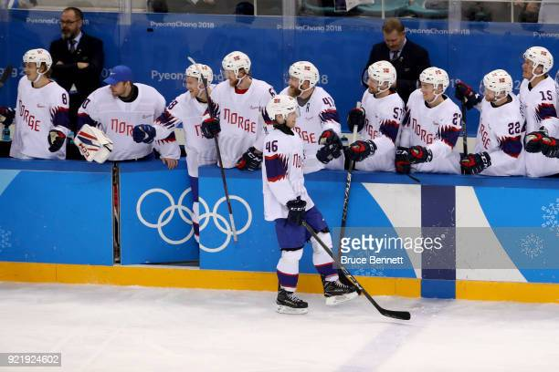 Alexander Bonsaksen of Norway celebrates with his teammates after scoring a goal on Vasili Koshechkin of Olympic Athlete from Russia in the second...