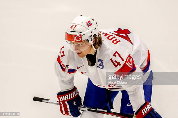 Alexander Bonsaksen of Norway in action during the IIHF World Championship group B match between Slovakia and Norway at CEZ Arena on May 6 2015 in...