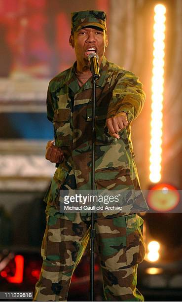 Alexander Briley of The Village People performs on stage at the taping of the 'American Bandstand's 50th A Celebration' to air on ABC TV on May 3 2002