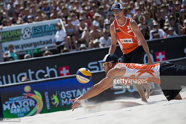 Alexander Brouwer and Robert Meeuwsen of the Netherlands compete during the Swatch Beach Volleyball Major Series on July 11, 2015 in Gstaad,...