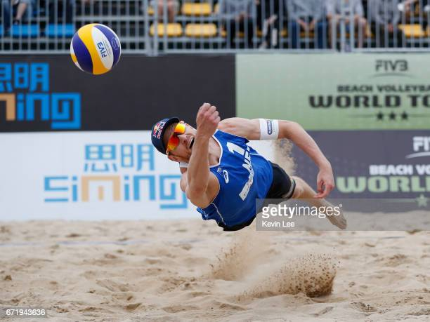 Alexander Brouwer of Netherlands in action at the FIVB Beach Volleyball World Tour Xiamen Open 2017 on April 23 2017 in Xiamen China