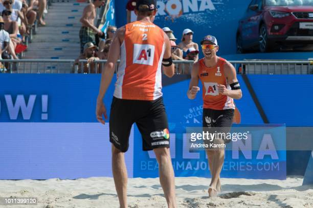 Alexander Brouwer of the Netherlands celebrates after scoring during the semifinal match between Anders Berntsen Mol and Christian Sandlie Sorum of...