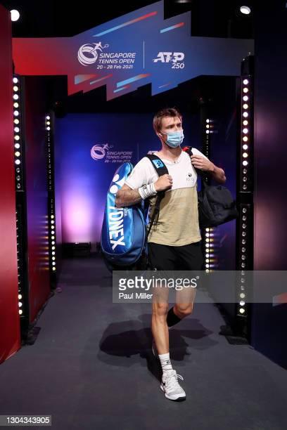 Alexander Bublik of Kazakhstan arrives for his Men's Singles Semifinals match against Radu Albot of Moldova on day six of the Singapore Tennis Open...